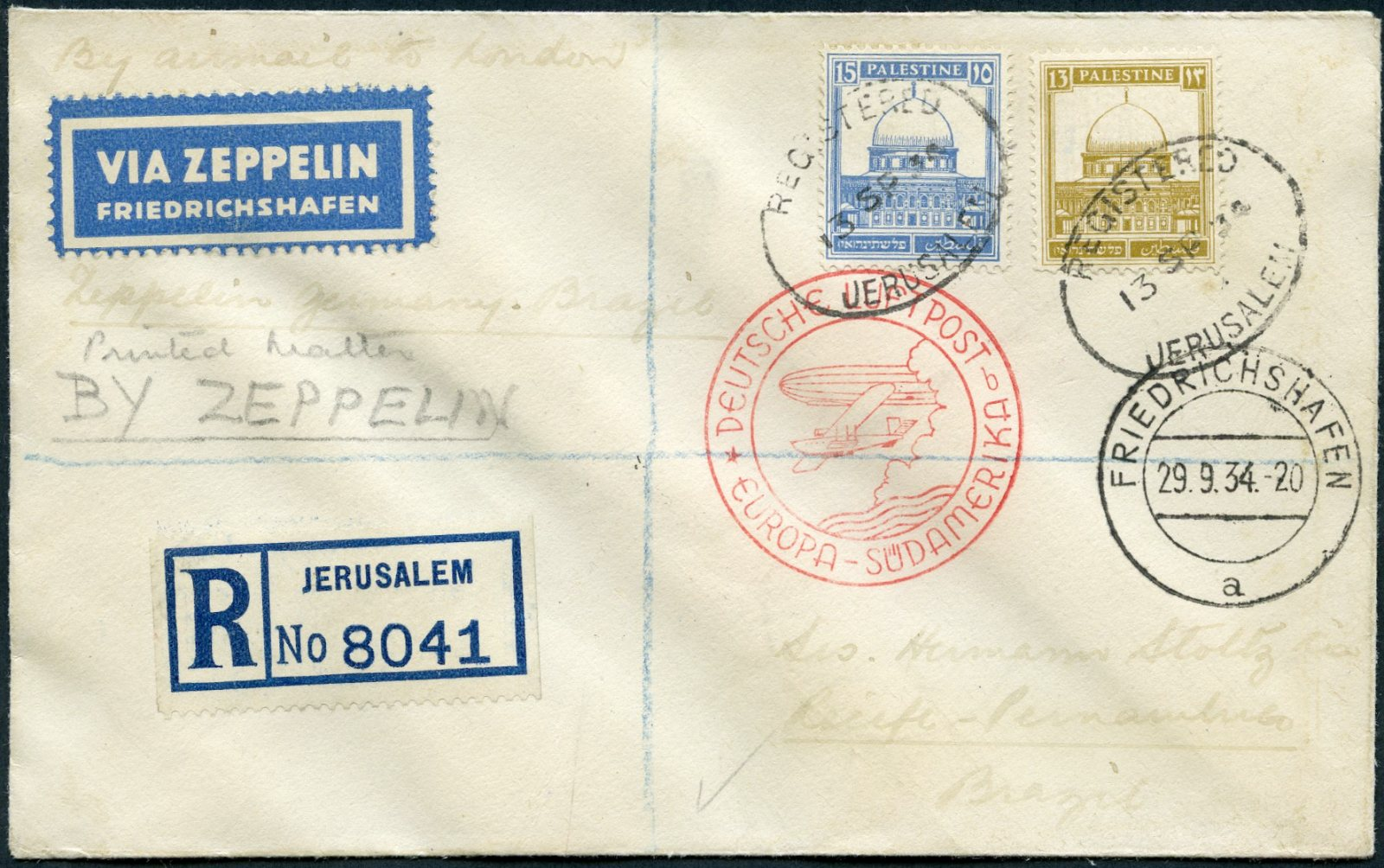 Lot 8 - AIR MAIL (Palestine related incl. Zeppelin)  -  Tel Aviv Stamps Ltd. Auction #50