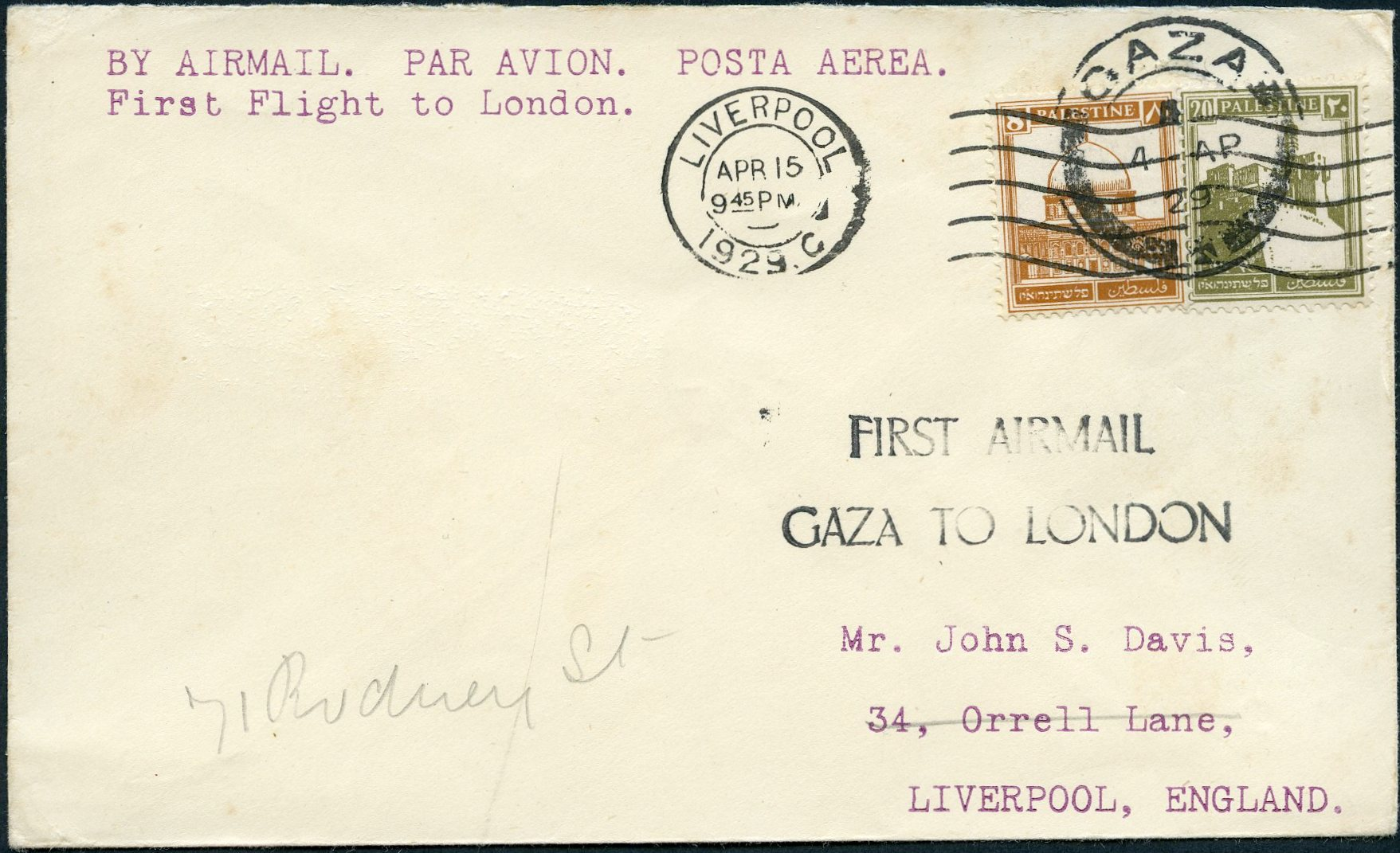 Lot 11 - AIR MAIL (Palestine related incl. Zeppelin)  -  Tel Aviv Stamps Ltd. Auction #50