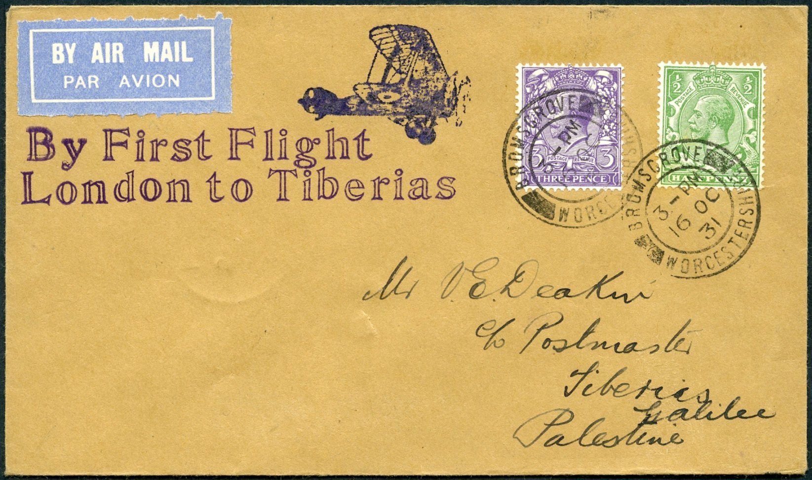 Lot 12 - AIR MAIL (Palestine related incl. Zeppelin)  -  Tel Aviv Stamps Ltd. Auction #50